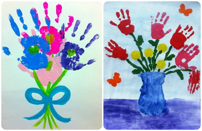 Открытка пальчиковыми красками дедушке