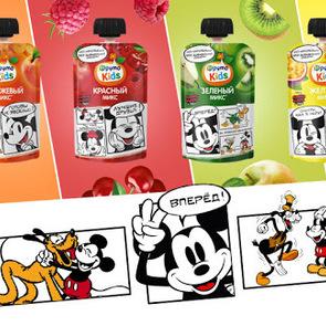 Микки Маус и его друзья на упаковке новых ярких пюре «ФрутоKids»!