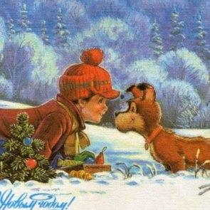 10 новогодних ретро-открыток с собаками