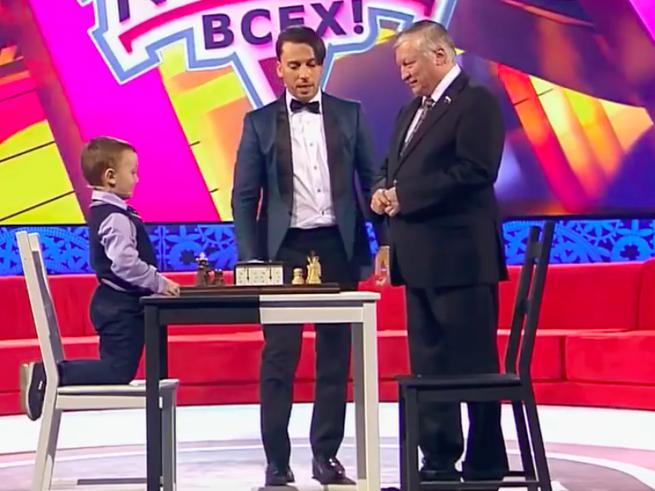 Трёхлетний шахматист сыграл с чемпионом мира Анатолием Карповым