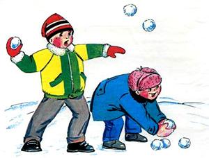 Как дети играют в снежки